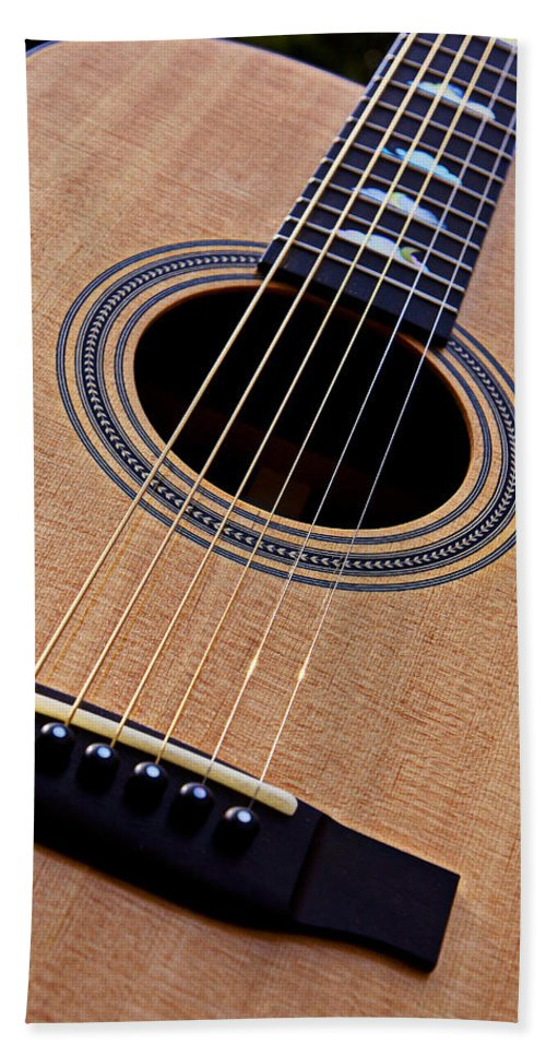 Guitar Hand Towel featuring the photograph Custom Made Guitar by Garry Gay