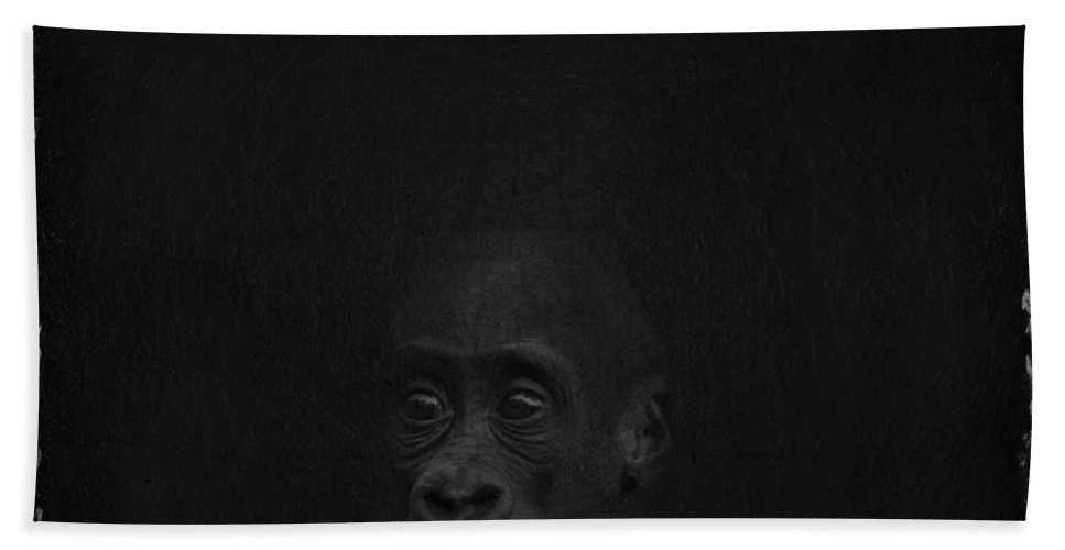Imia Design Hand Towel featuring the digital art Cute Gorilla Baby by Maria Astedt
