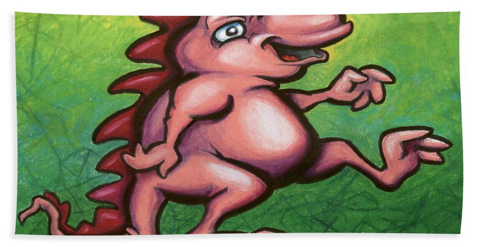 Dragon Hand Towel featuring the painting Cute Little Pink Dragon by Kevin Middleton