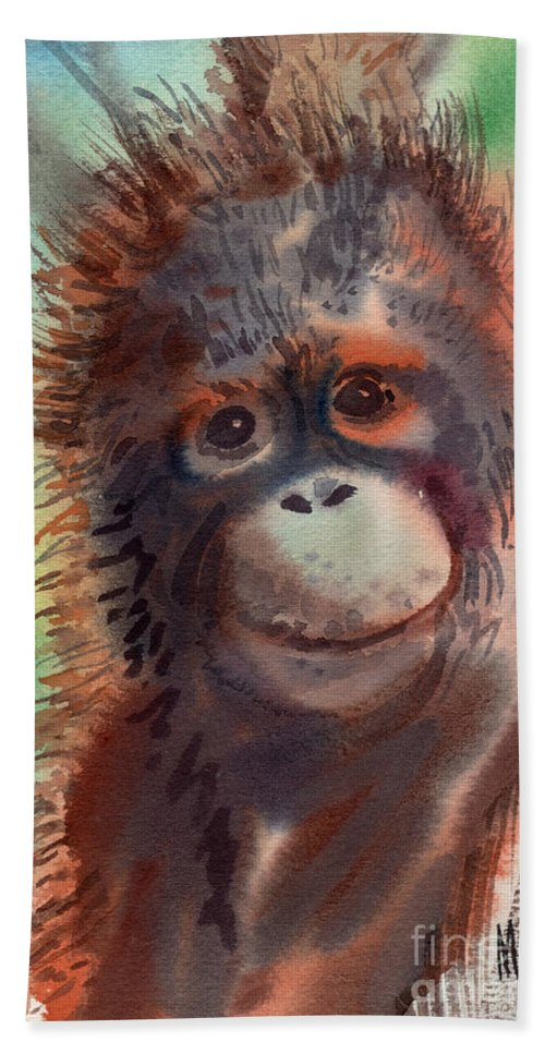 Orangutans Hand Towel featuring the painting My Precious by Donald Maier