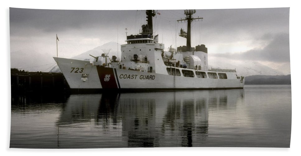 Coast Guard Hand Towel featuring the photograph Cutter In Alaska by Steven Sparks