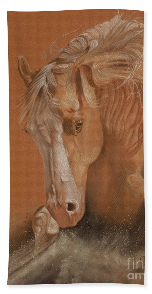 Horse Bath Sheet featuring the painting Cutting Horse by Gail Finger