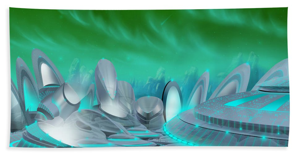 Science Fiction City Bath Sheet featuring the painting Cyan City by James Christopher Hill