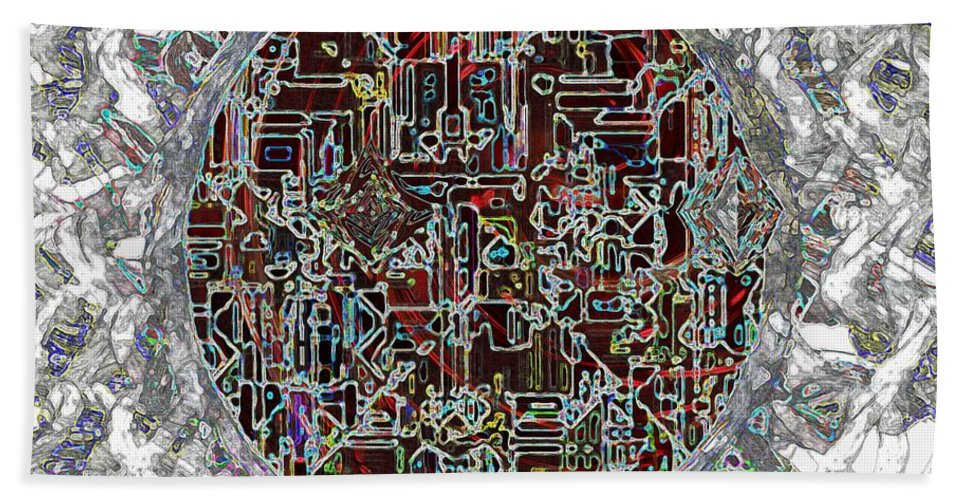 Abstract Hand Towel featuring the painting Cyborg Heart by RC DeWinter