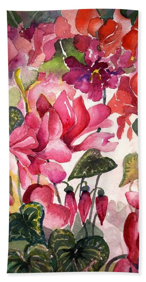 Cyclamen Hand Towel featuring the painting Cyclamen by Mindy Newman