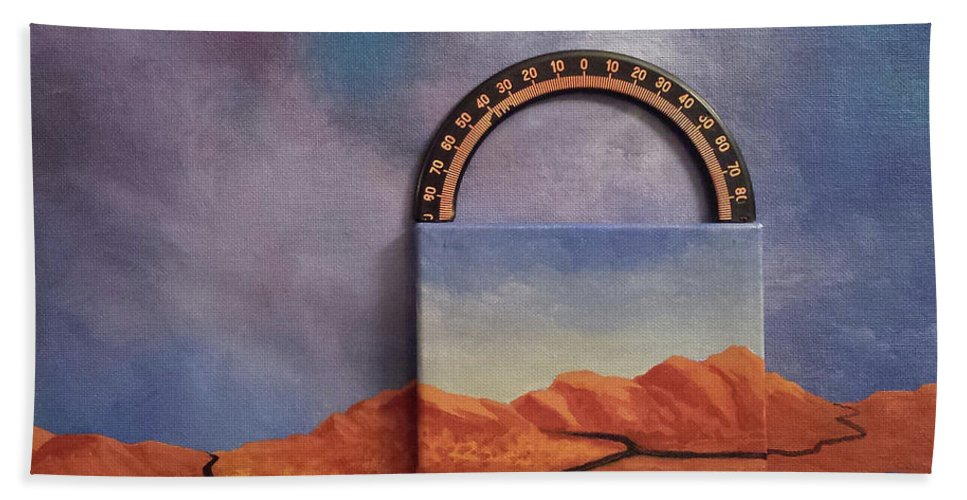 Clouds Mountains Meridian Bath Towel featuring the painting Cyclic Existence by Beth Waltz