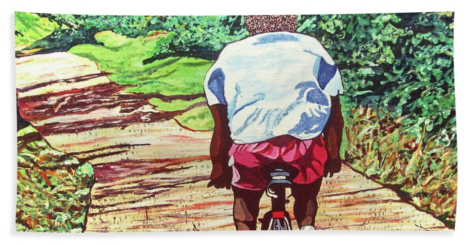 Valentine Magutsa Bath Sheet featuring the painting Cycling Home by Valentine Magutsa