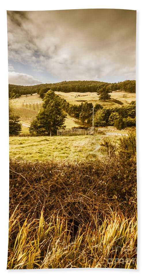 Farm Hand Towel featuring the photograph Cygnet Rustic Farming Fields by Jorgo Photography - Wall Art Gallery