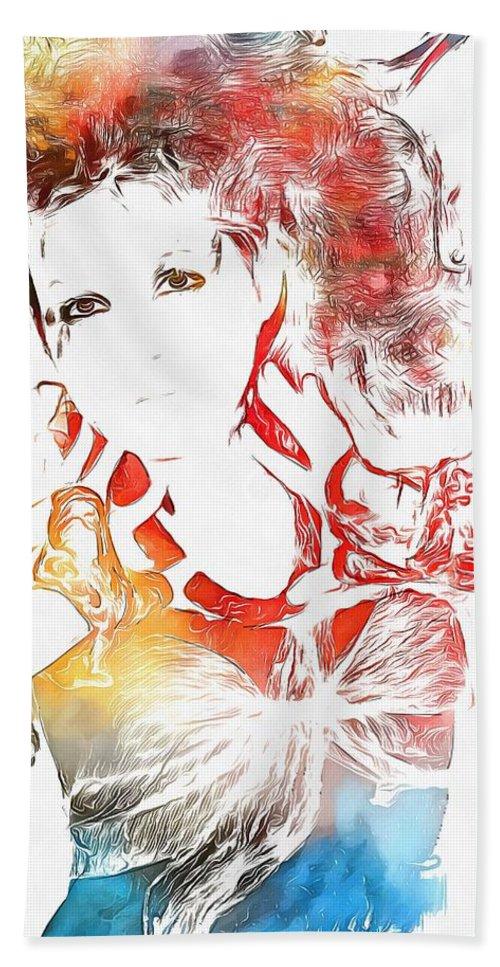 Cyndi Lauper Watercolor Bath Towel featuring the painting Cyndi Lauper Watercolor by Dan Sproul