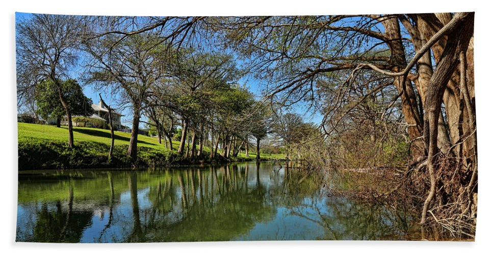 Cypress Bend Park Bath Sheet featuring the photograph Cypress Bend Park Reflections by Judy Vincent
