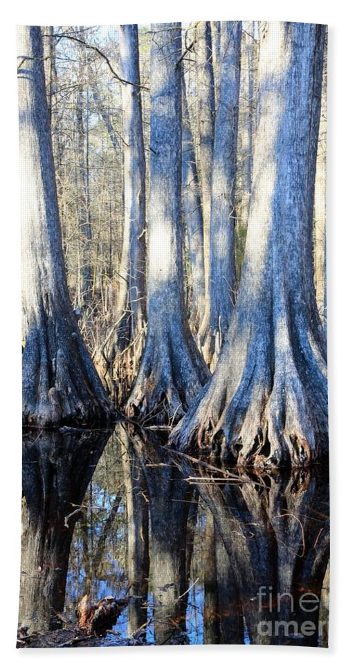 Swamp Bath Sheet featuring the photograph Cypress Reflection by Carol Groenen