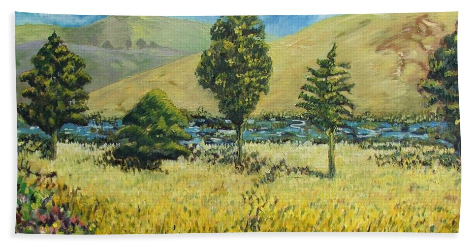 South African Landscape Hand Towel featuring the painting Cypresses At Lydenburg by Caroline Street