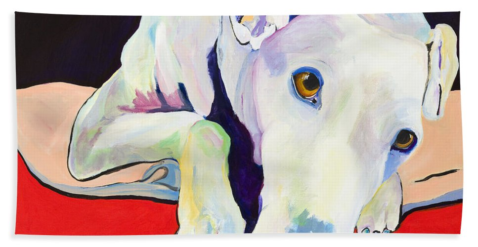Animals Pets Greyhound Bath Towel featuring the painting Cyrus by Pat Saunders-White