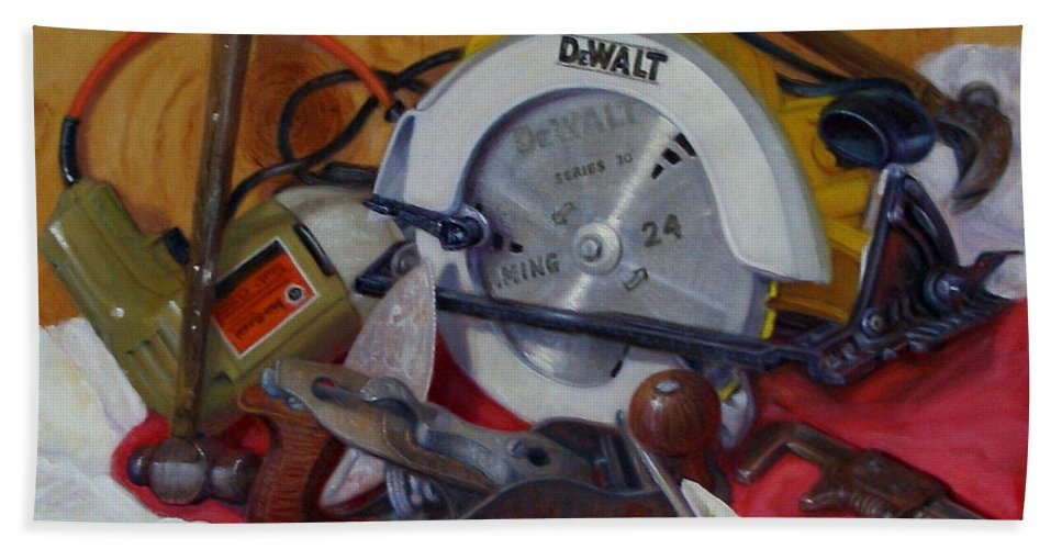 Realism Bath Sheet featuring the painting D. I. Y. 2  by Donelli DiMaria