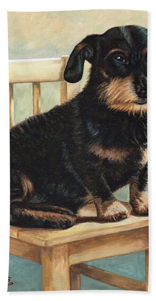 Dog Hand Towel featuring the painting Dachshund by Nicole Zeug