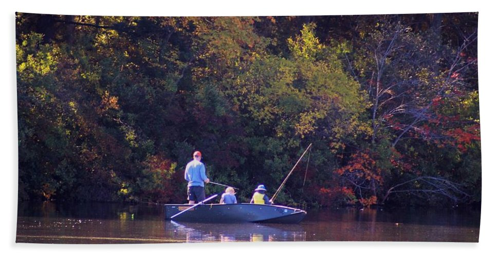Boat Bath Sheet featuring the photograph Dad And Sons Fishing by Karen Silvestri
