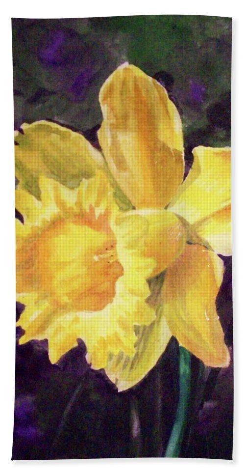 Daffodil Bath Sheet featuring the painting Daffodil by Irina Sztukowski