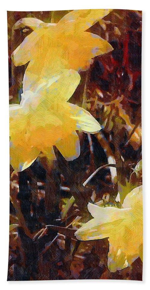 Daffodils Bath Sheet featuring the painting Daffs Gone Goth by RC DeWinter