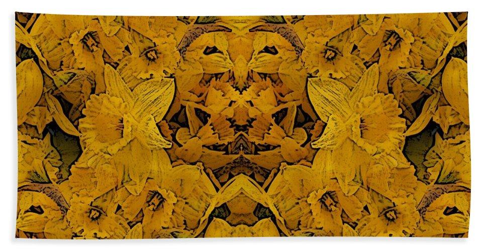 Daffodil Bath Sheet featuring the digital art Daffy Daffodils by Tim Allen