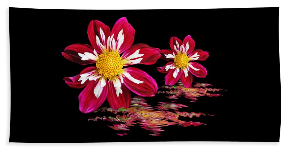 Red Flower Hand Towel featuring the photograph Dahlia Reflections by Gill Billington