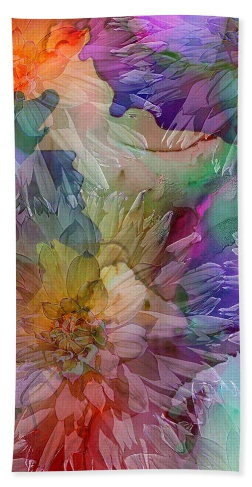 Nature Hand Towel featuring the digital art Dahlias by Klara Acel