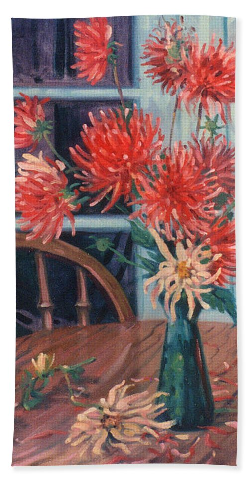 Still Life Hand Towel featuring the painting Dahlias With Red Cup by Donald Maier