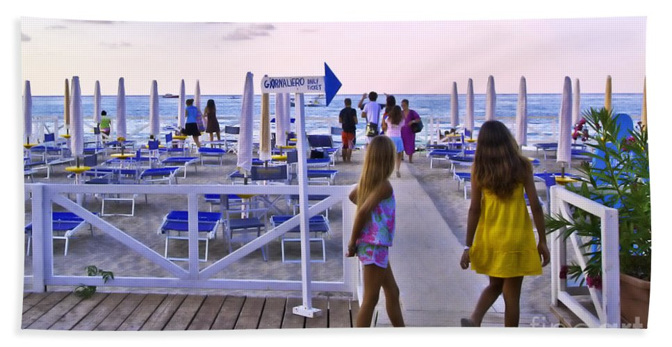 Mondello Beach Hand Towel featuring the photograph Daily Ticket Aka Giornaliero by Madeline Ellis
