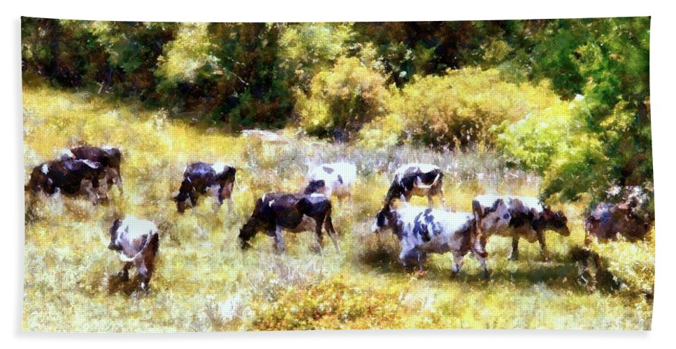 Cows Hand Towel featuring the photograph Dairy Cows In A Summer Pasture by Janine Riley