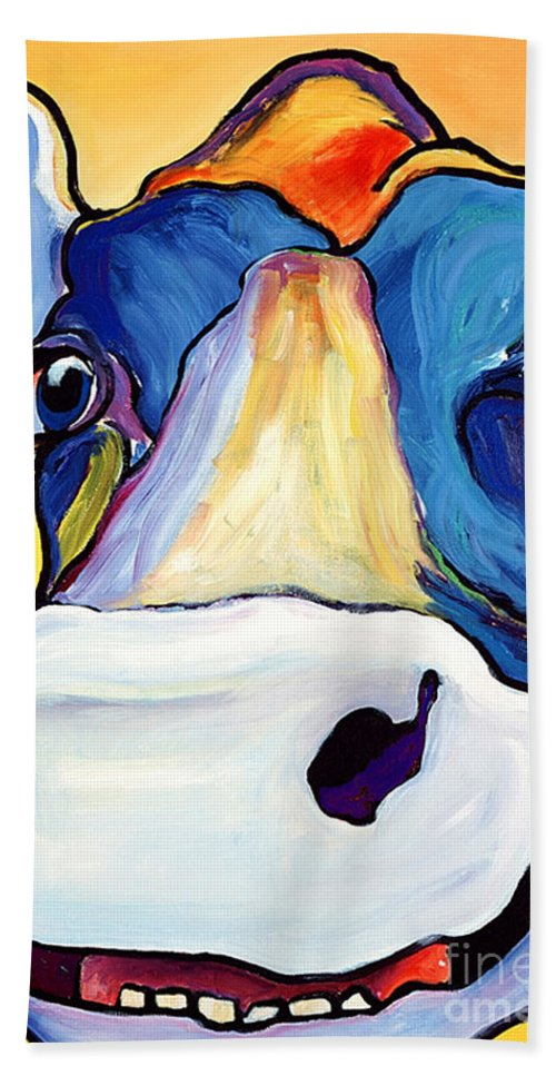 Cow Print Hand Towel featuring the painting Dairy Queen I  by Pat Saunders-White