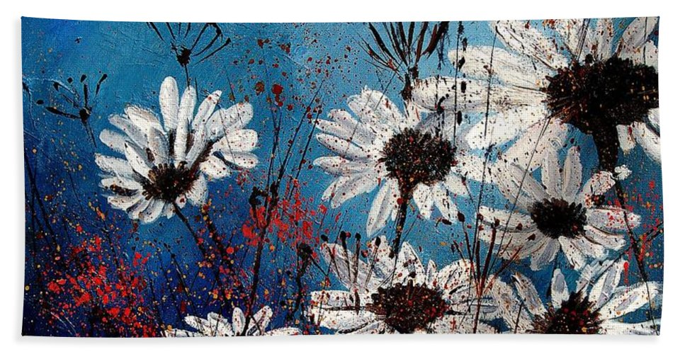 Flowers Hand Towel featuring the painting Daisies 59060 by Pol Ledent