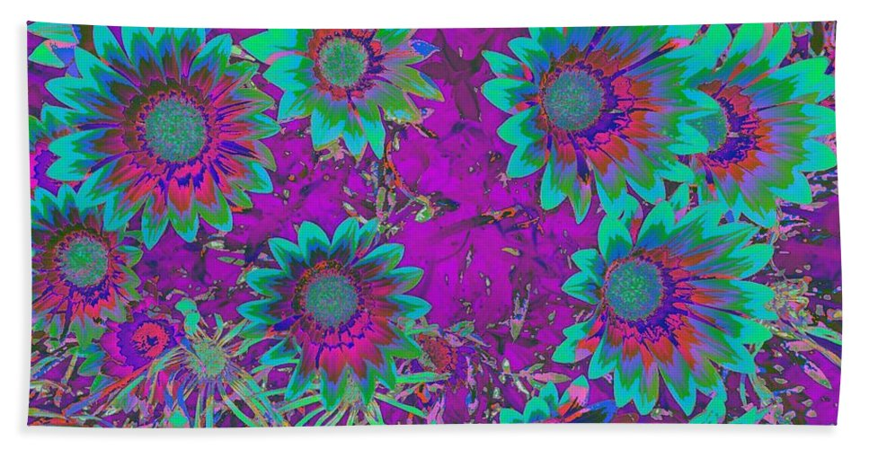 Ground Cover Hand Towel featuring the photograph Pop Art Daisies Aqua by Jenny Revitz Soper