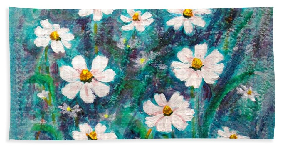 Gold Hand Towel featuring the painting Daisies Golden Eyed by Usha Shantharam