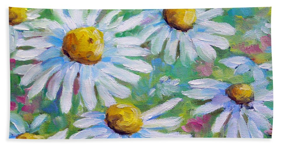 Art Bath Sheet featuring the painting Daisies In Spring by Richard T Pranke