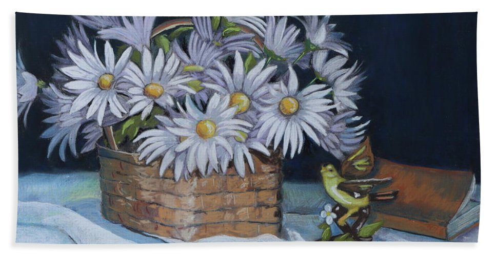 Daisies Hand Towel featuring the painting Daisies In Still Life by Patty Strubinger