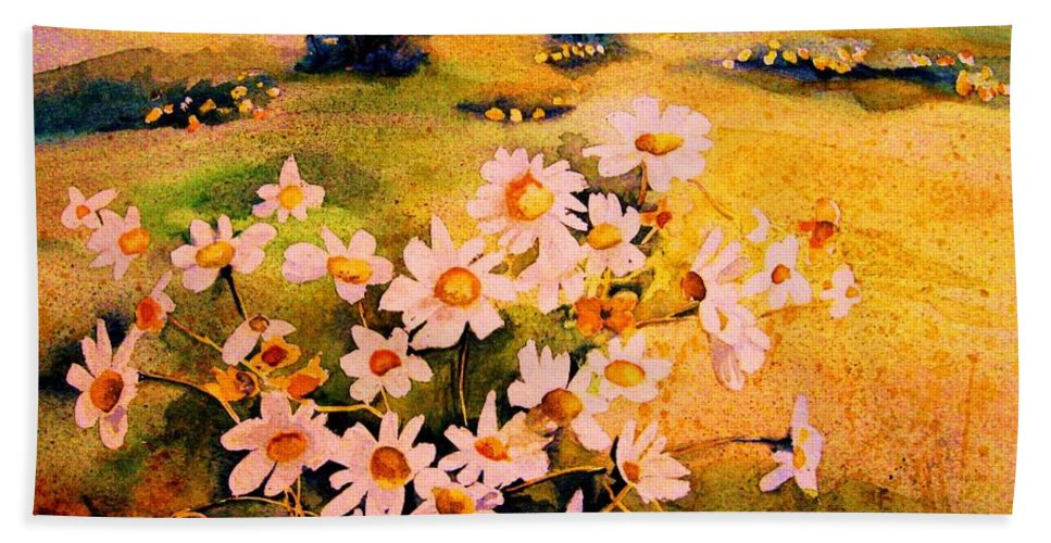 Daisies Hand Towel featuring the painting Daisies In The Sun by Carole Spandau