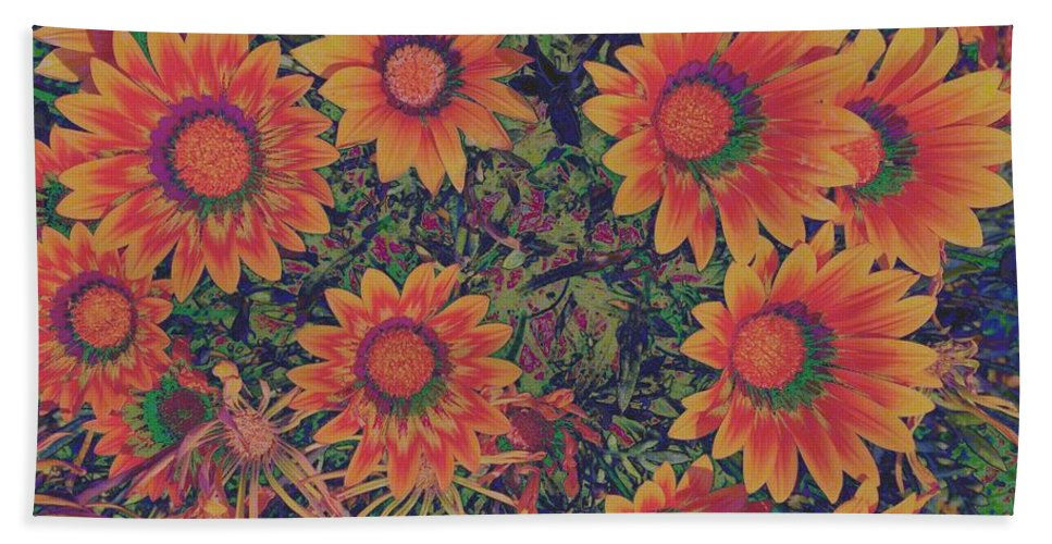Featured Hand Towel featuring the photograph Pop Art Daisies Orange by Jenny Revitz Soper