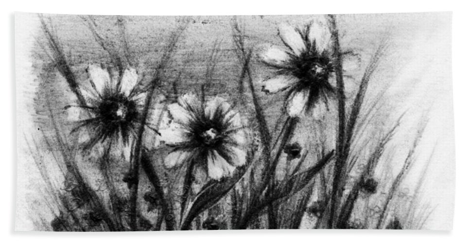 Flowers Hand Towel featuring the drawing Daisies by Rachel Christine Nowicki