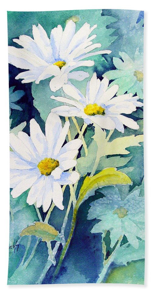Flowers Bath Towel featuring the painting Daisies by Sam Sidders
