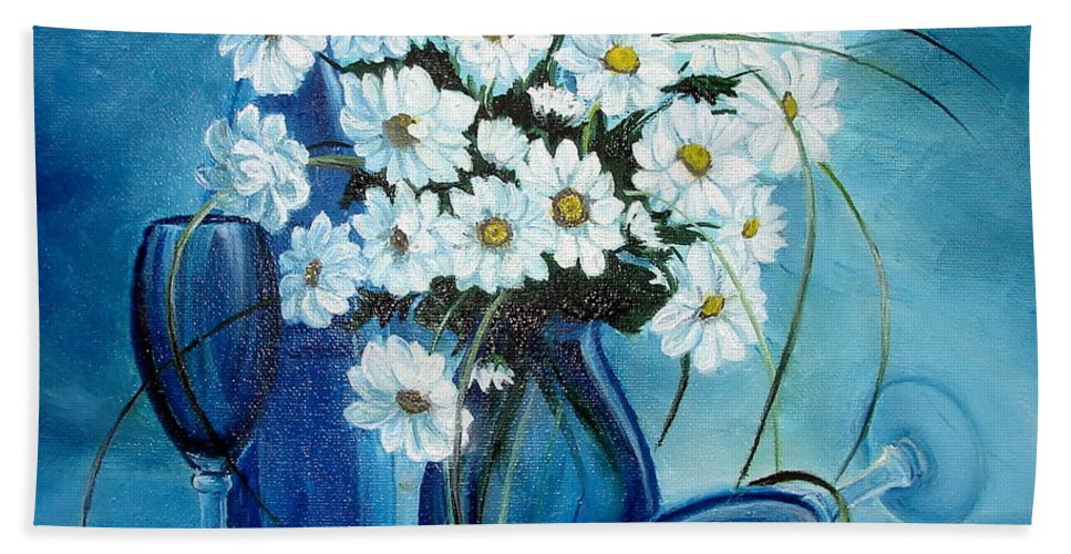 Daisies Hand Towel featuring the painting Daisies by Sorin Apostolescu