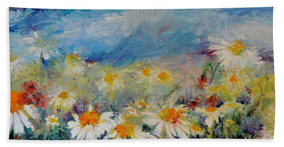 Daisies spring field white flowers on the sky hand towel for sale daisies hand towel featuring the painting daisies spring field white flowers on the sky by mightylinksfo