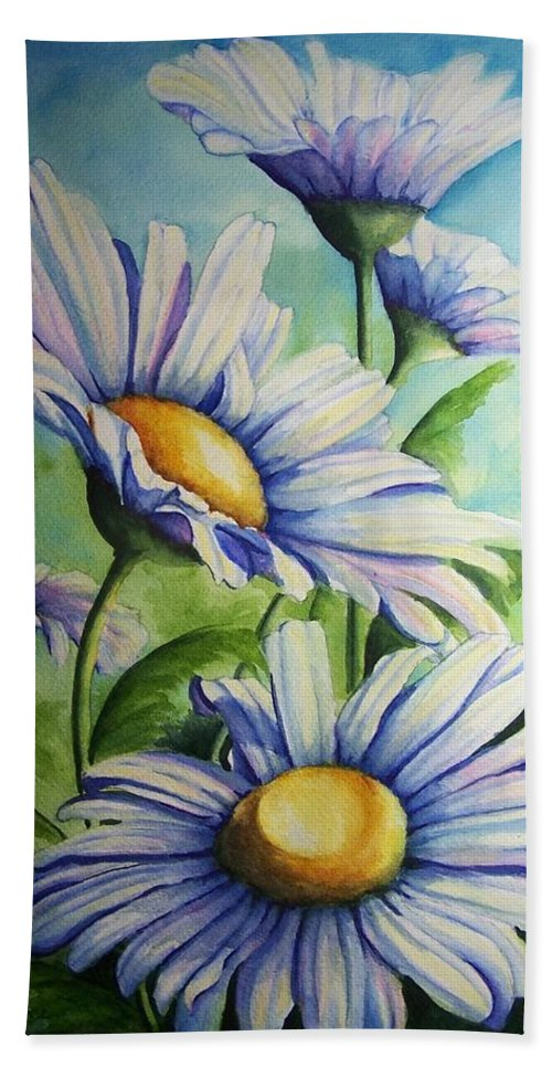 Floral Bath Sheet featuring the painting Daisy Blue by Conni Reinecke