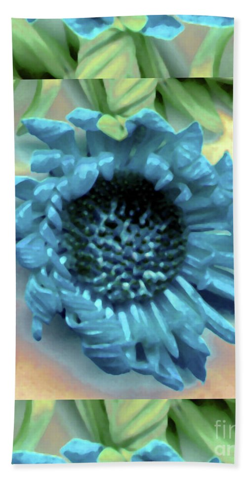 Blue Digital Daisy Leaf Leaves Green Watercolor Bath Sheet featuring the photograph Daisy Blue Frame by Heather Kirk