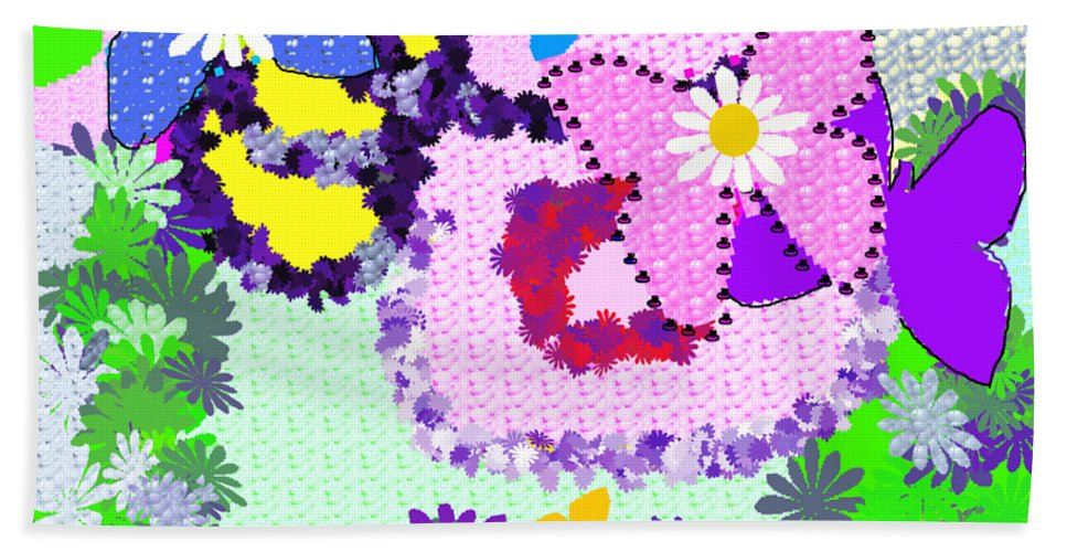 Abstract Bath Sheet featuring the drawing Daisy Callico by Barbara Gerry