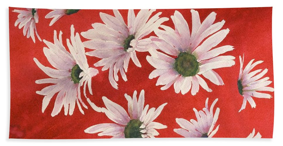 Flowers Bath Towel featuring the painting Daisy Chain by Ruth Kamenev