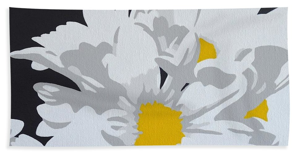Macro Hand Towel featuring the painting Daisy, Daisy How Does Your Garden Grow...... by Susan Porter