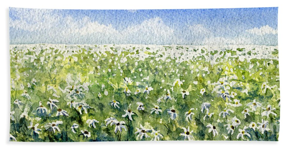 Nature Hand Towel featuring the painting Daisy Field by Mary Tuomi