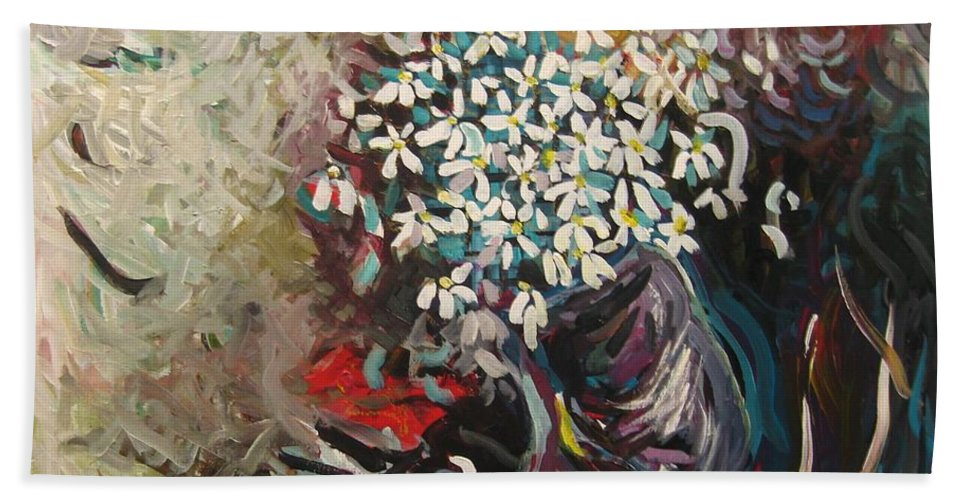 Daisy Paintings Hand Towel featuring the painting Daisy In Vase3 by Seon-Jeong Kim