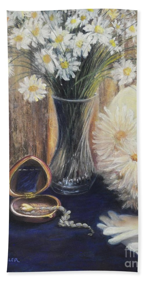Paintings With Daisys In Bath Sheet featuring the painting Daisy Love by Penny Neimiller