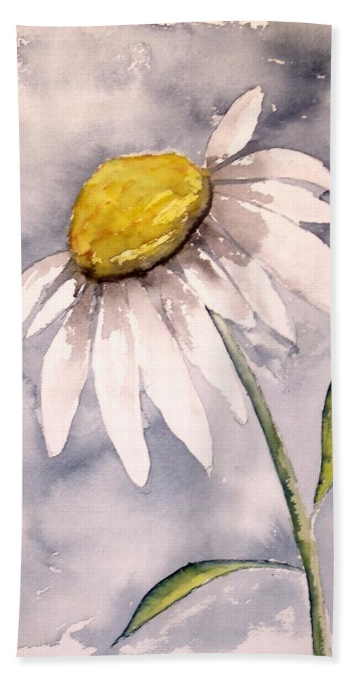 Daisy Hand Towel featuring the painting Daisy Modern Poster Print Fine Art by Derek Mccrea