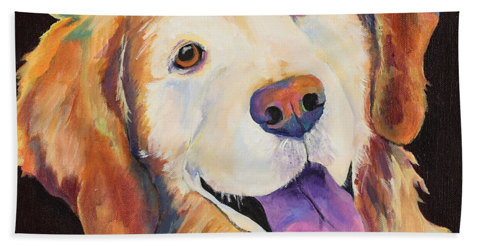 Pet Portraits Bath Towel featuring the painting Daisy by Pat Saunders-White